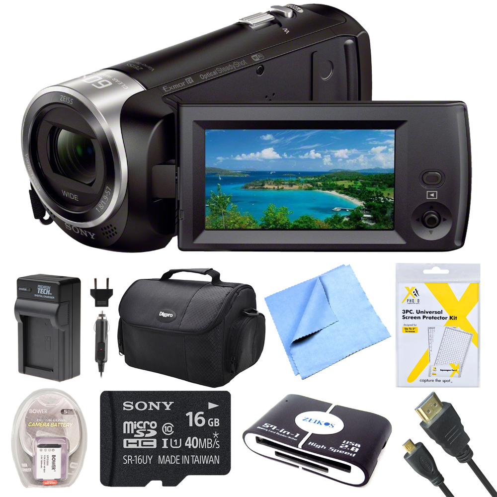 Sony HDRCX440B HDR-CX440B HDR-CX440/B CX440 4K HD Video Recording Handycam Camcorder Bundle With Deluxe Bag, 16GB Mico SD Card, AC/DC Charger, HDMI Cable, Battery Pack, and More