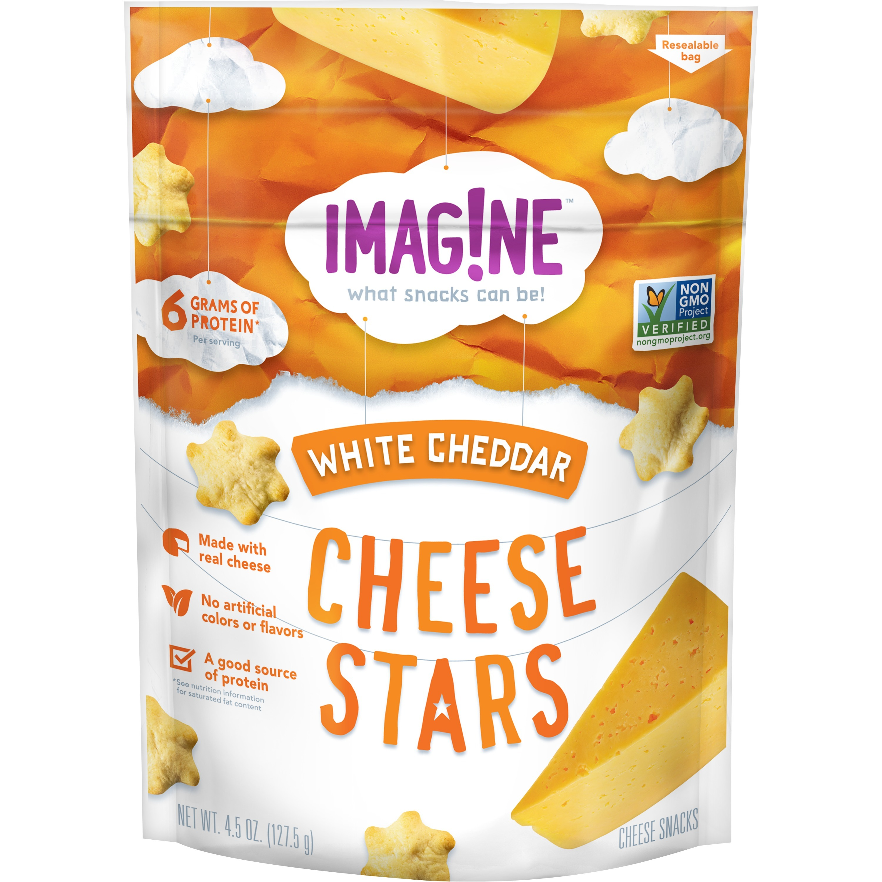 Imag!ne White Cheddar Cheese Stars, 4.5 oz Bag