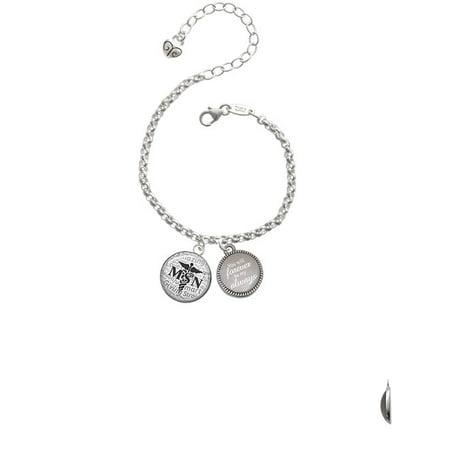 Silvertone Domed Black Msn You Will Forever Be My Always Engraved Bracelet