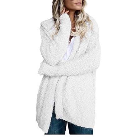 DYMADE Women's Women Casual Open Front Long Knitting Cardigans Sweater Coat with Hats