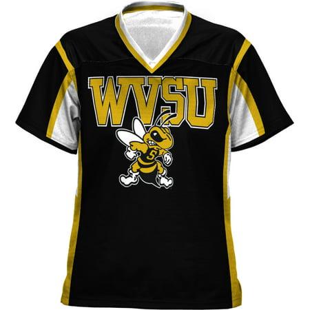 Prosphere Girls West Virginia State University Scramble Football Fan Jersey