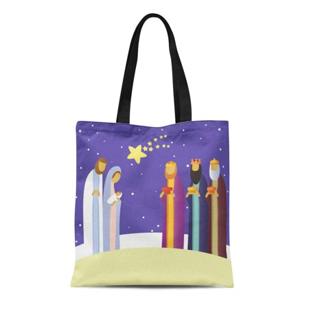 ASHLEIGH Canvas Tote Bag Christmas Nativity Scene Holy Family Baby Bethlehem Bible Birth Durable Reusable Shopping Shoulder Grocery Bag](Bible Bags And Totes)