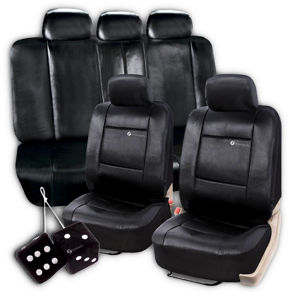 Zone Tech Universal Fit Premium Quality Luxury Interior Décor Pu Leather Full Set of Solid Black Seat Covers+ Pair of Classic Black Plush Hanging Fuzzy Dice Set