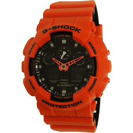 Casio Men's GA100L-4A Orange Silicone Quartz Sport - Orange G-shock