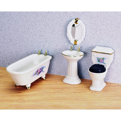 Modern Porcelain Bathroom Dollhouse Miniature Set