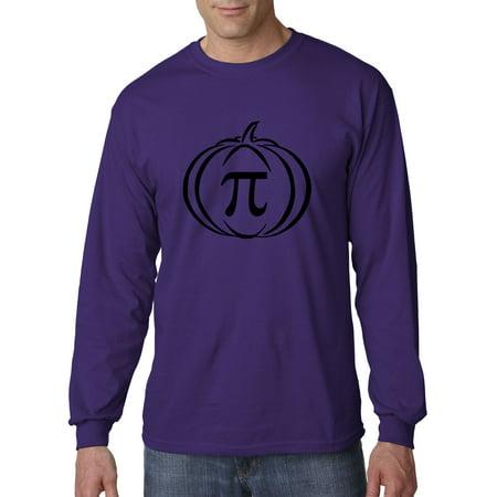 Purple Pumpkin (New Way 974 - Unisex Long-Sleeve T-Shirt Pumpkin Pi Pie Math Halloween Funny Humor Medium)