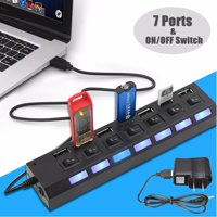 LED Indicator 7-Port USB 2.0 HUB Splitter Adapter W/ Individual On/Off Switch + Free Charger for Transfer Data Charging Speed For Windows MacOS Linux for iPhone 8/8 Plus7/7 Plus/6S