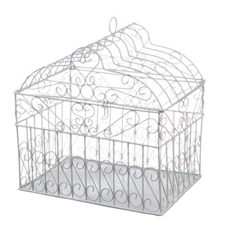 Victoria Lynn Metal Birdcage Card Holder - White - 10 x 10 x 7.5 - Birdcage Card Holder