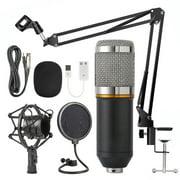 Juslike Condenser Microphone Bundle, BM-800 PC Microphone Professional Cardioid Studio Mic Set with Mic Suspension Scissor Arm, Shock Mount and Pop Filter for Studio Recording & Broadcasting