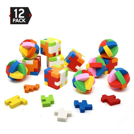 Bic Eraser - 12 Individually Packaged Puzzle Erasers, Party Favors Brain Teaser Pencil Erasers, 6 Balls and 6 Cubes by Big Mo's Toys