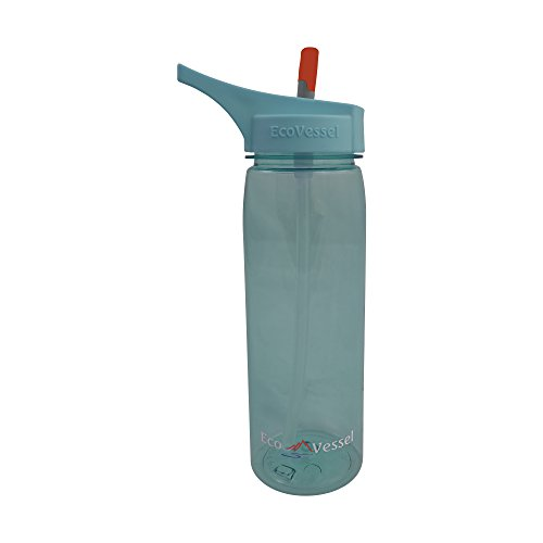 25 EcoVessel WAVE Tritan Plastic Sports Water Bottle with Flip Straw Top