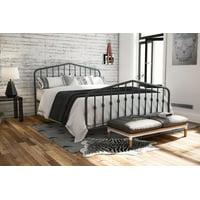 The Novogratz Modern Farmhouse Bushwick Metal Bed, Gray, Queen