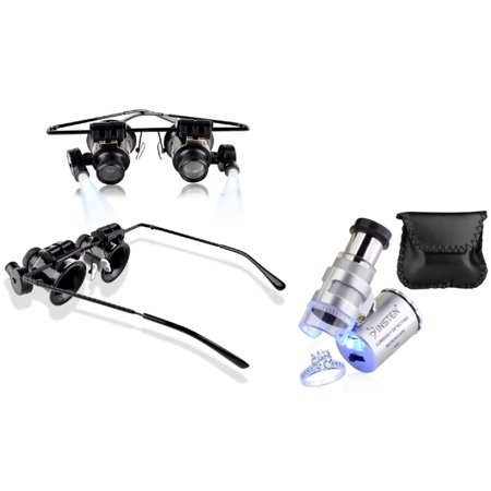 Magnifier With Light - Insten 20X Magnifying Glasses & 60X Professional Magnifier Portable Loupe (both with LED Light) for Jeweler Watch Repair