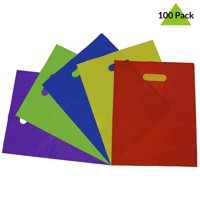 Prime Line Packaging 12x15 Thick 2 Mil Plastic Gift Bags Party Favor Bags Best Design Bags for Birthday Parties Weddings Holidays and All Occasions - 100 Pcs