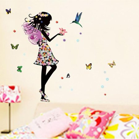 Angel Wings Beautiful Girl Flowers Butterfly DIY Wall Stickers Removable Home