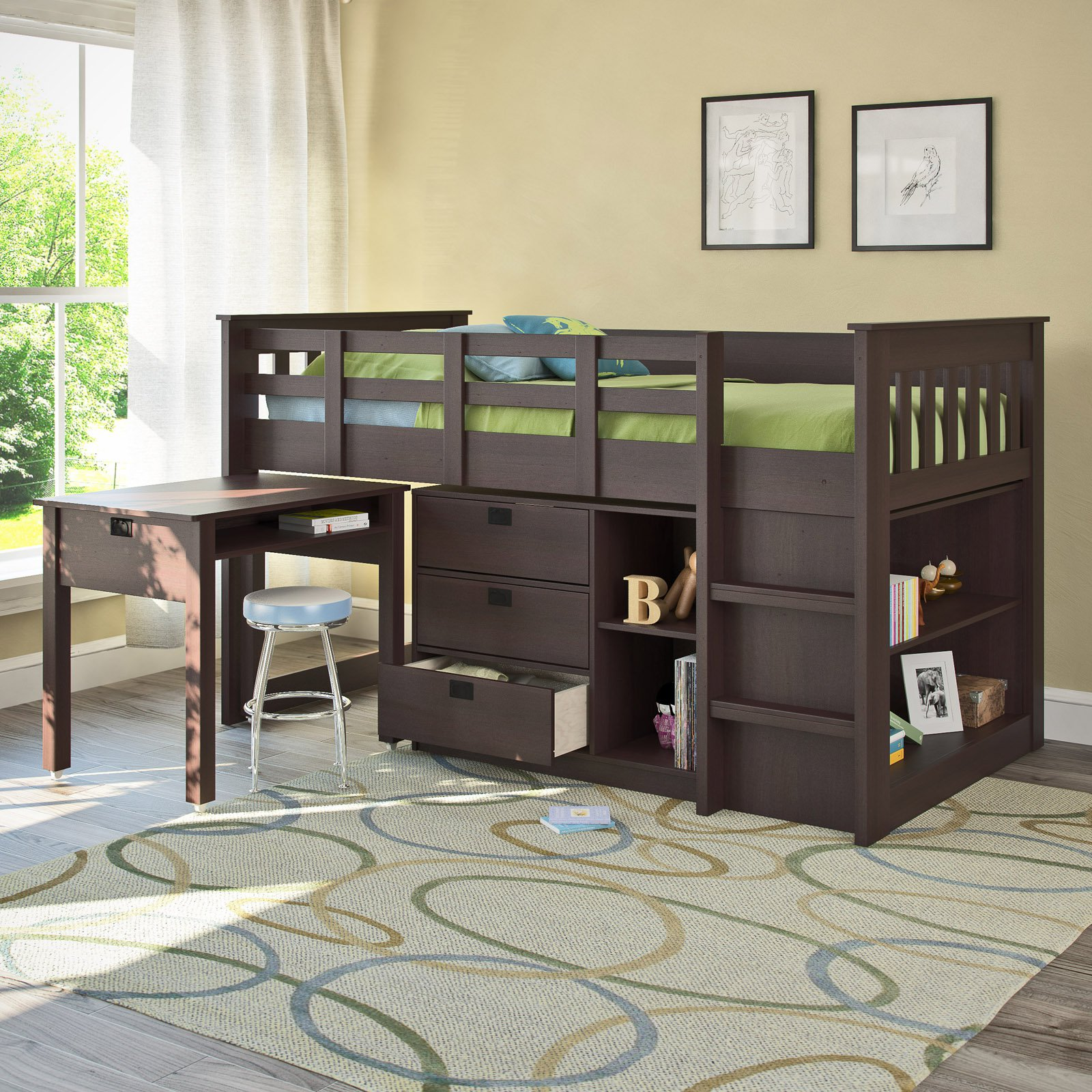 CorLiving Madison Twin Loft Bed With Desk And Storage, Multiple Colors    Walmart.com
