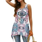 Starvnc Women Boho Print Round Neck Sleeveless Asymmetric Hem Tops