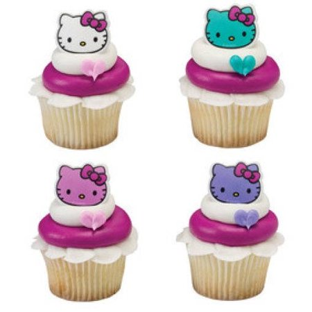 12 Hello Kitty Happy Everything Cupcake Cake Rings Birthday Party Favors Toppers (Hello Kitty Centerpieces)