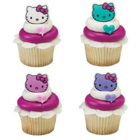 24 Hello Kitty Happy Everything Cupcake Cake Rings Birthday Party Favors Toppers](Hello Kitty Cookie Cake)