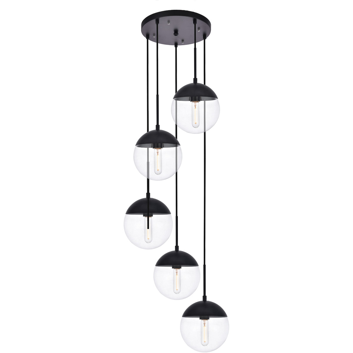 Pendants 5 light fixtures with black finish metal glass material e26 bulb 18 200 watts