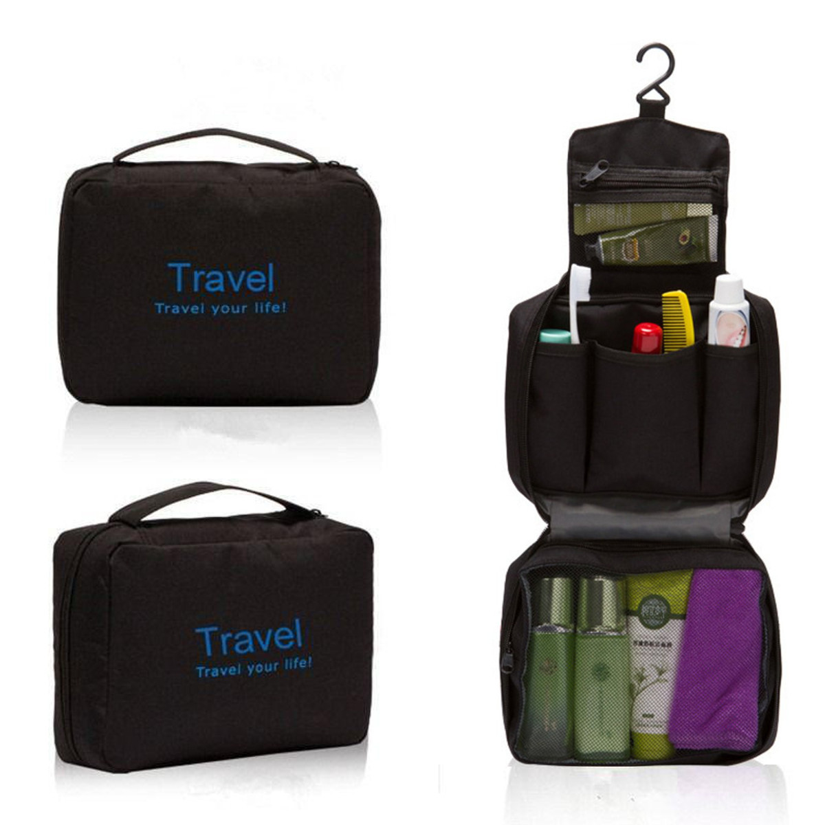 Mens Travel Hanging Toiletry Wash Shower Bag Organizer Kit Case Carry Tote Black&Blue SPECIAL TODAY !