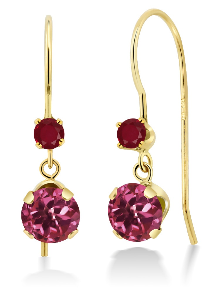 1.24 Ct Round Pink Tourmaline Red Ruby 14K Yellow Gold Earrings by