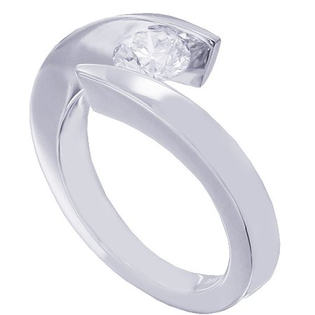 14k White Gold Round Diamond Engagement Ring Tension Set