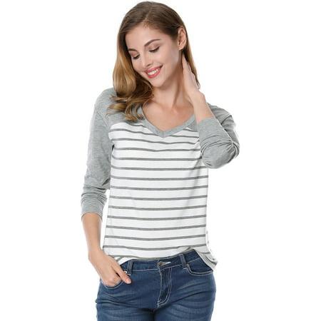 Allegra K Rayures col V Dame Couleur Contraste T-Shirt - image 1 de 7