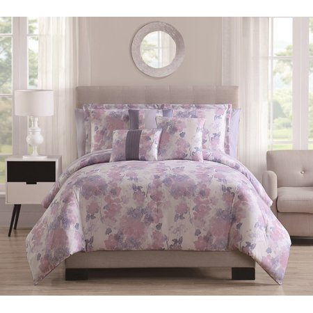 10 Piece Adona Blush/Multi with Sheets Comforter Set Cal King ()