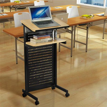 Yaheetech Mobile Lectern Podium Rolling Standing up Desk for Reading - LapTop Stand w/ Tilted Top Board & Edge Stopper