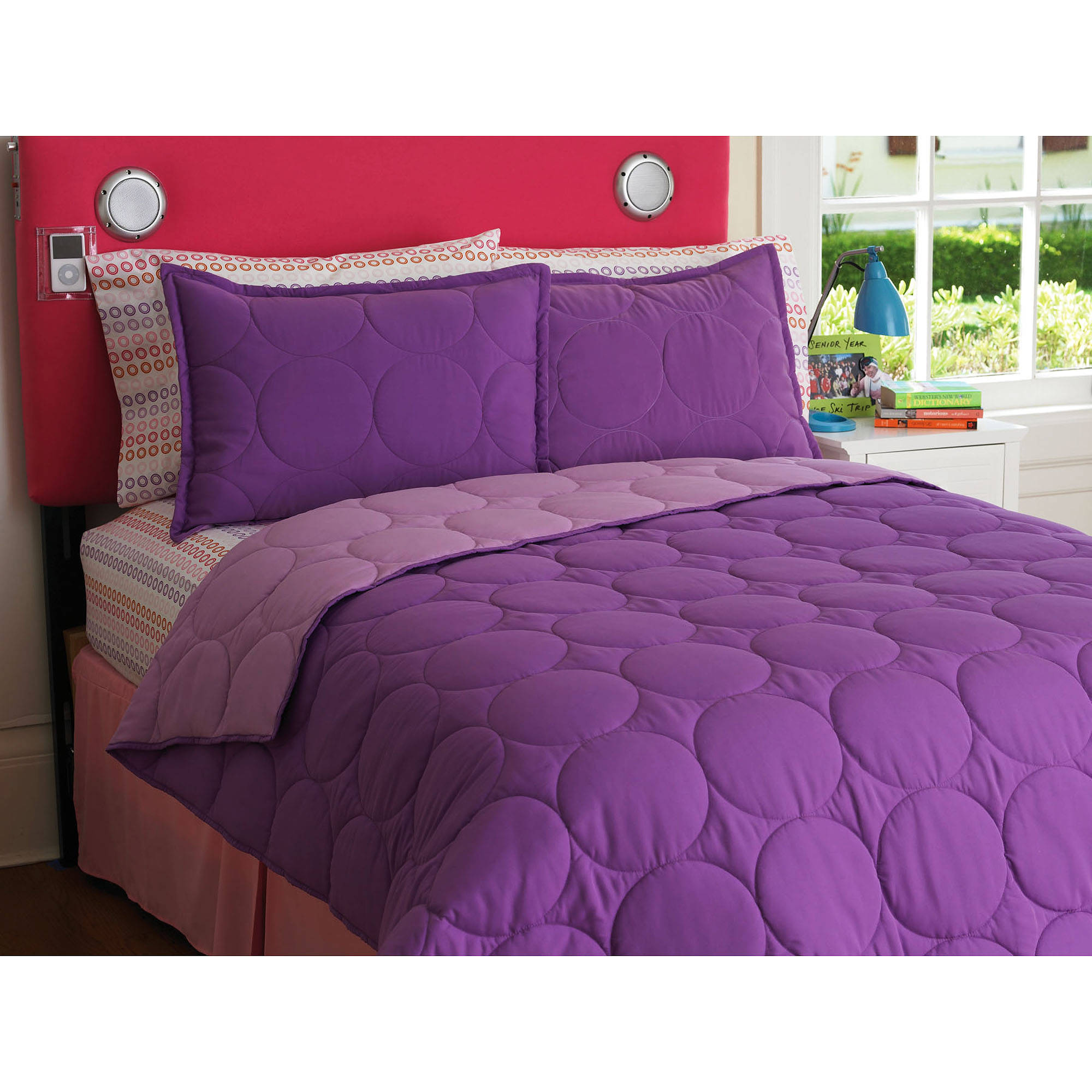 Your Zone Reversible Comforter and Sham Set, Purple Berry/Iris Size Twin