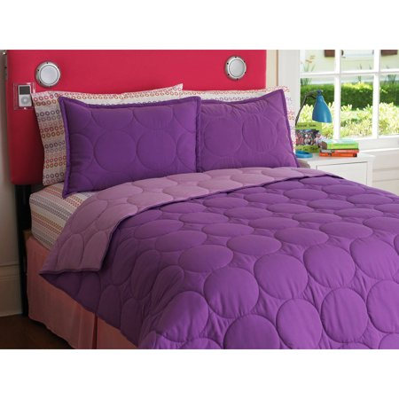 Your Zone Reversible Comforter And Sham Set Purple Berry