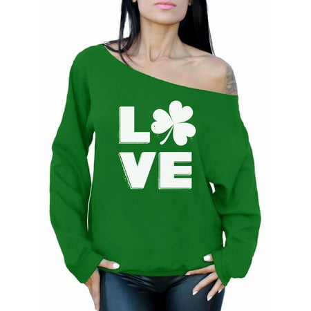 - Awkward Styles Love Shamrock Off the Shoulder Top St. Patricks Day Sweater Gifts for Her Irish Off Shoulder Sweater for Women Proud Irish Women Irish Shamrock Sweatshirt Irish Pride Womens St Patricks