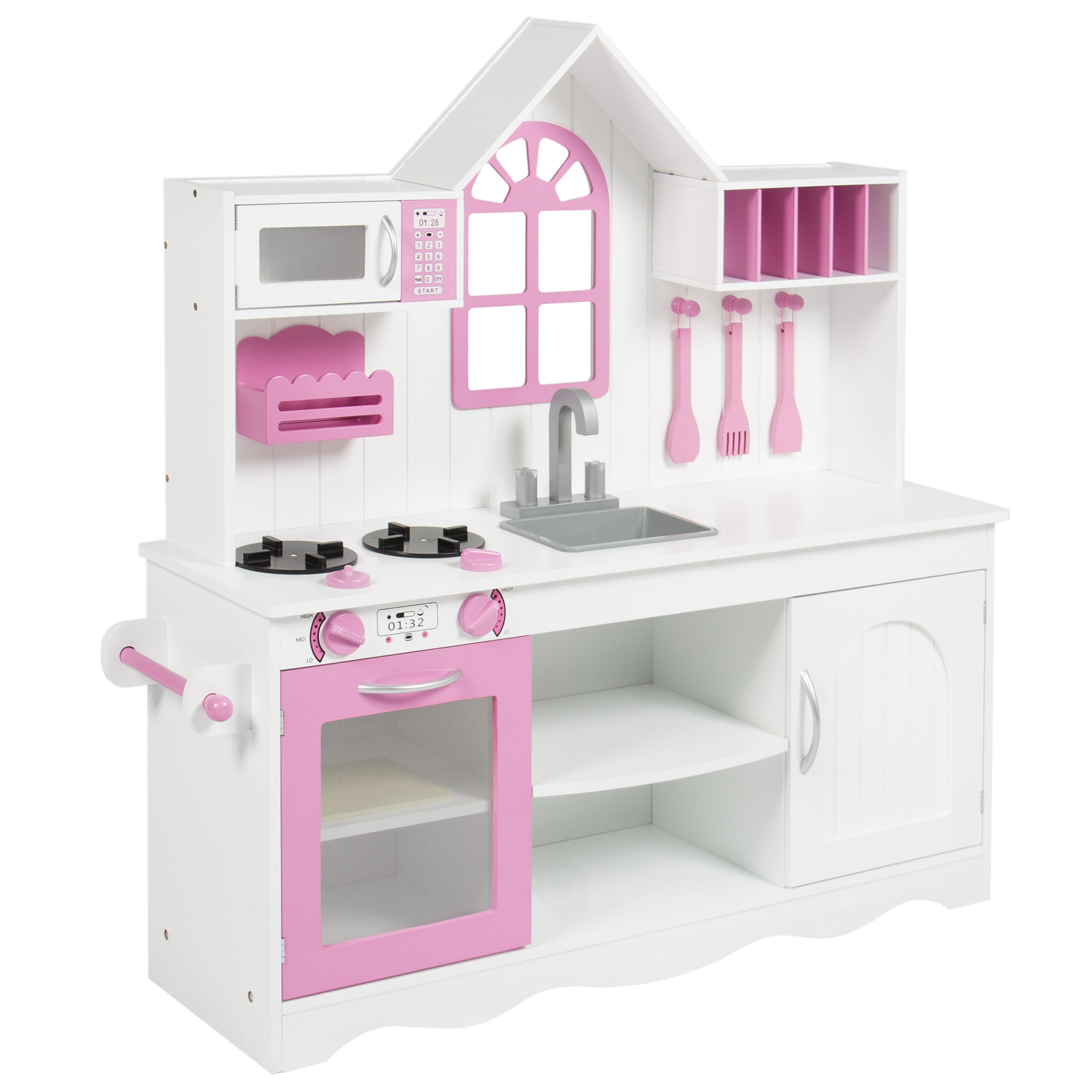 BCP Kids Wood Kitchen Toy Toddler Pretend Play Set Solid Wood Construction    White   Walmart.com