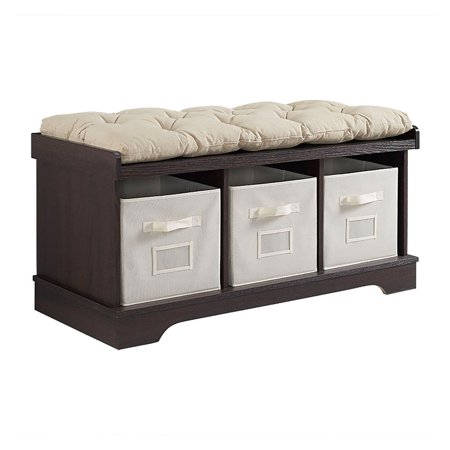WE Furniture 42u0022 Wood Storage Bench with Totes and Cushion