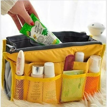 13 Pocket Bag in Bag Travel Insert Handbag Tote Makeup Organizer Purse Yellow ()
