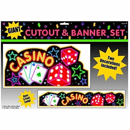 Amscan Casino Party Cutout & Banner Decoration (2 Piece), Multi Color, 13.8 x 19.8