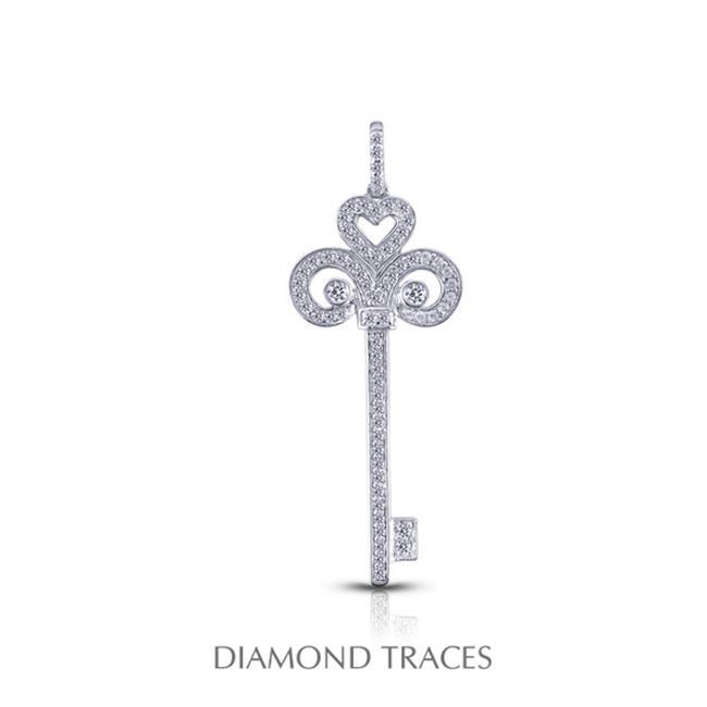 Diamond Traces 0.48 Carat Total Natural Diamonds 14K White Gold Pave Setting Key Fashion Pendant - image 1 de 1