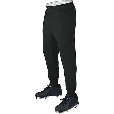 Wilson Basic Adult Baseball Pull-Up Pants with Elastic Waistband, Black Black Baseball Stirrup