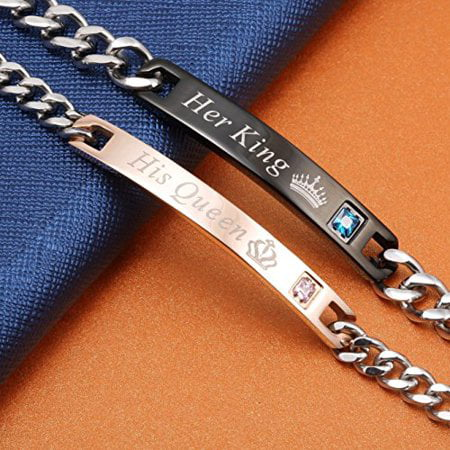 Couple Bracelets Set, His Queen Her King For Couple Lovers Unisex Jewelry Gifts Chain Titanium Steel - Sabona Titanium Bracelet