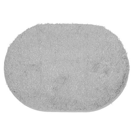 Home Plush Oval Anti-skid Door Floor Rug Mat Carpet Doormat Gray 65cm x 45cm