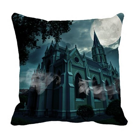 PHFZK Full Moon Pillow Case, Halloween Hauted Church Castle Pillowcase Throw Pillow Cushion Cover Two Sides Size 18x18 inches](Twin Cities Church Halloween)