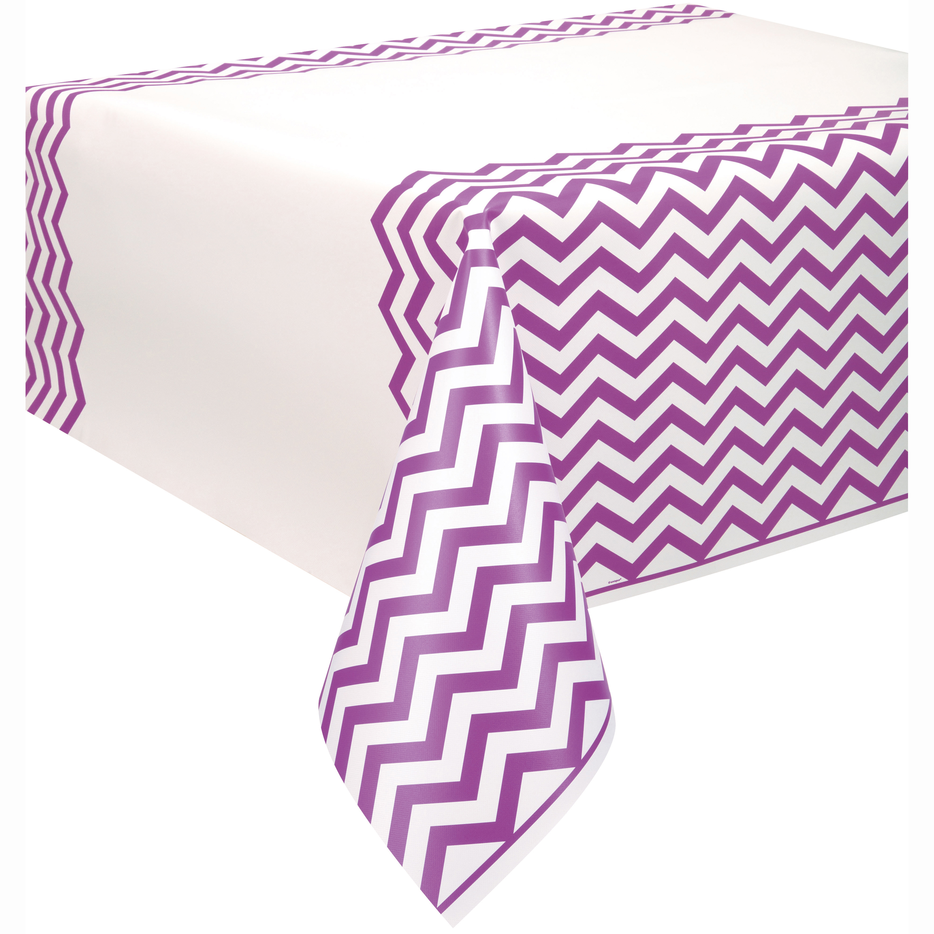 "Plastic Purple Chevron Table Cover, 108"" x 54"""