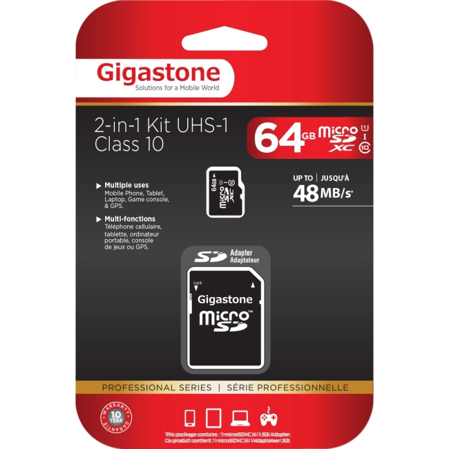 Gigastone 64GB MicroSDHC UHS-1 Class 10 Memory Card w/ SD Adapter