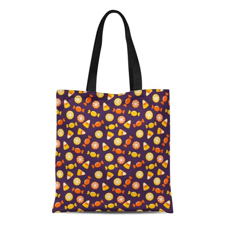 LADDKE Canvas Tote Bag Orange Candy Happy Halloween Sweets Purple Pattern Cute Corn Durable Reusable Shopping Shoulder Grocery Bag