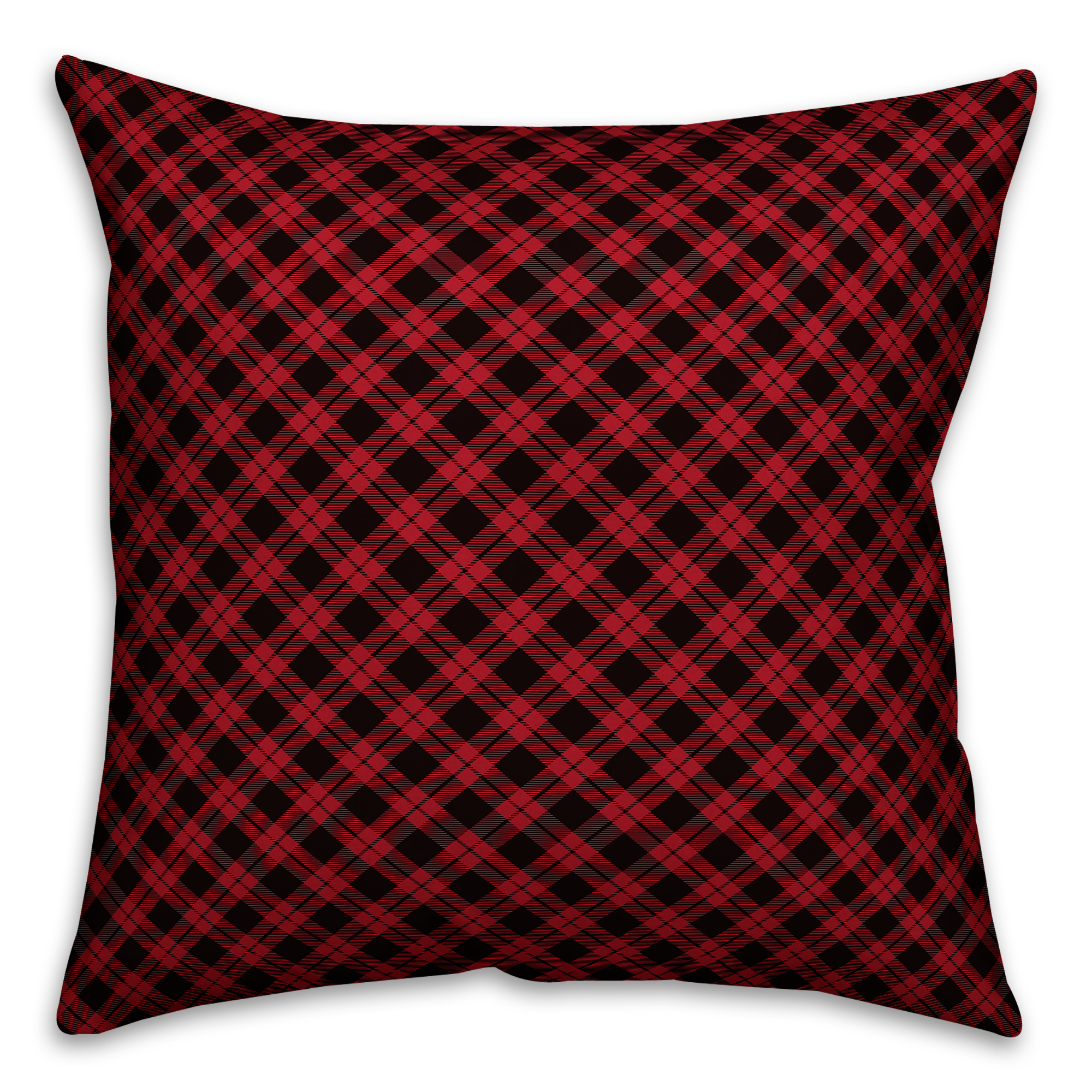 Red and Black Gingham Buffalo Check Plaid 18x18 Spun Poly Pillow