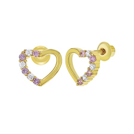18k Gold Plated Crystal Open Heart Baby Children Screw Back Earrings