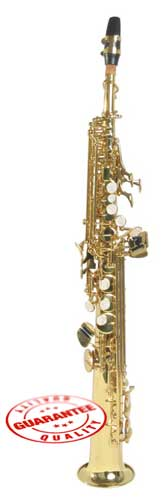 Hawk Straight Soprano Saxophone Gold with Case, Mouthpiece and Reed by Hawk