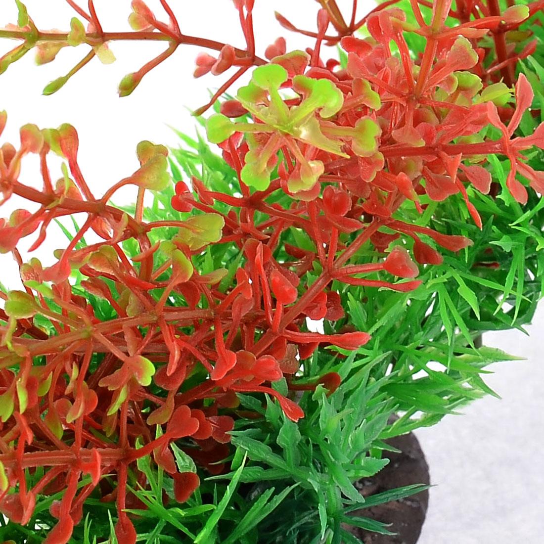 Unique Bargains Fish Tank Aquarium Green Red Plastic Emulational Underwater Plant 11cm High - image 1 of 3