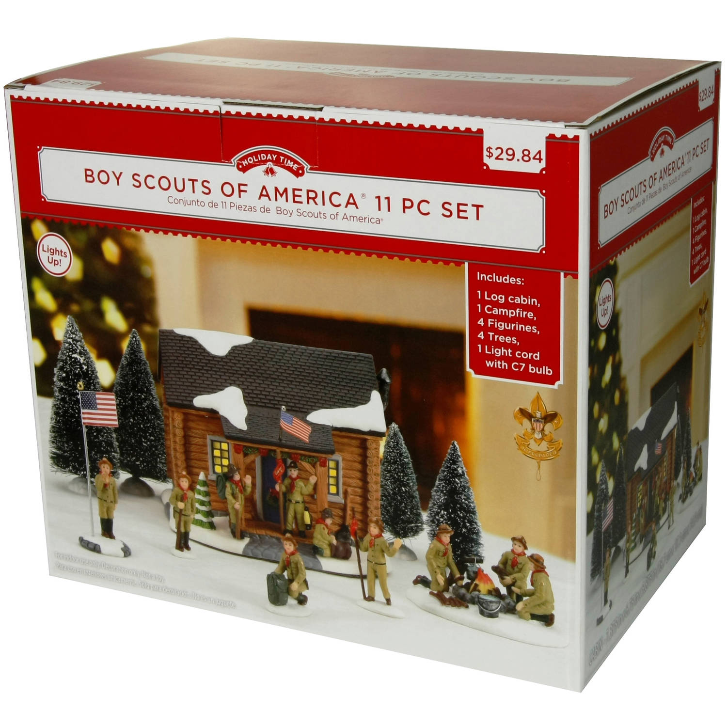 holiday time christmas decor boy scouts of america 11 piece villageholiday time christmas decor boy scouts of america 11 piece village set walmart com